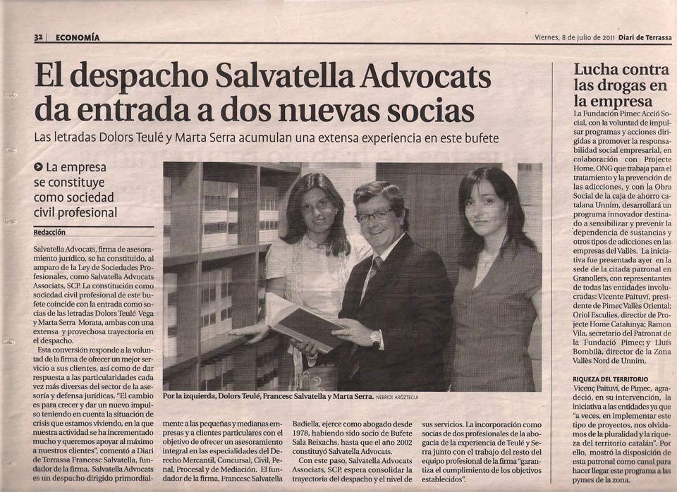 Salvatella Advocats dóna entrada a dues noves sòcies