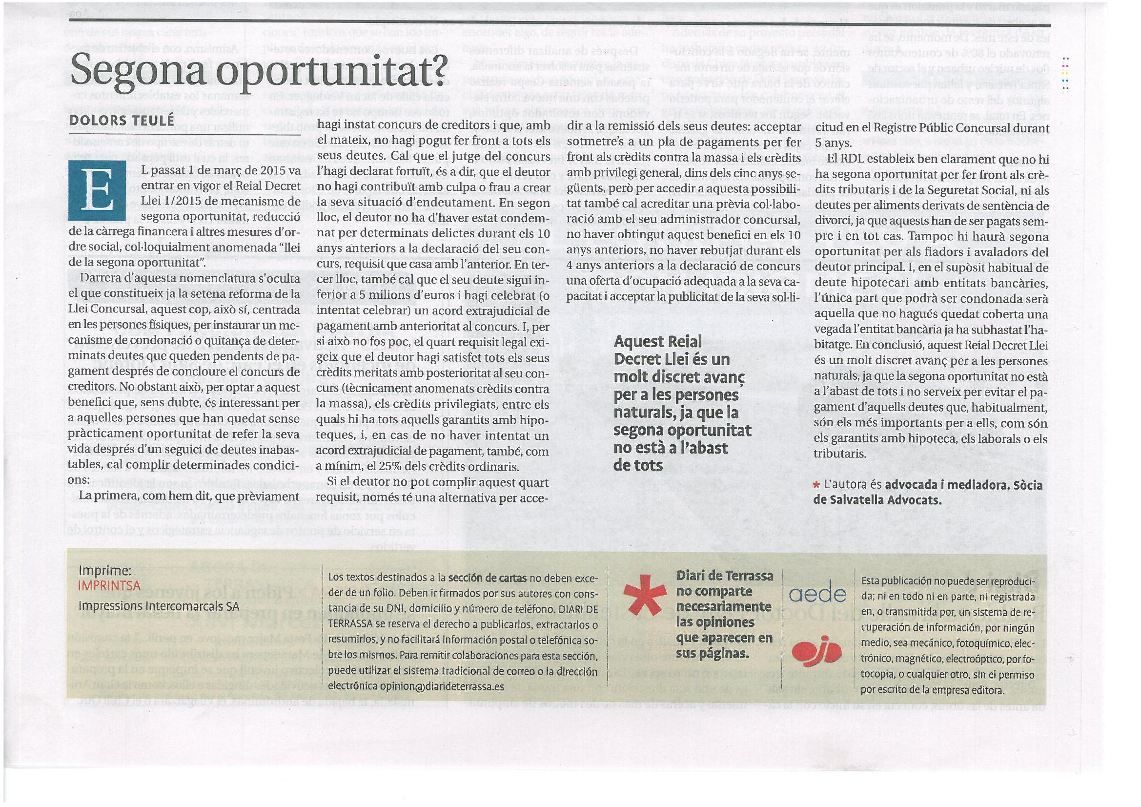 Article d'opinió sobre 2ª oportunitat a DT
